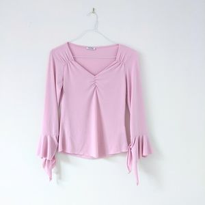 Tops - V-neck Long Bell Sleeves Top Shirt